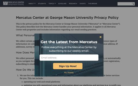 Screenshot of Privacy Page mercatus.org - Mercatus Center at George Mason University Privacy Policy | Mercatus Center - captured Sept. 25, 2018
