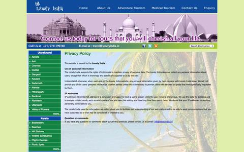 Screenshot of Privacy Page lonelyindia.in - Lonely India -Unexplored destinations in India - captured Oct. 5, 2014
