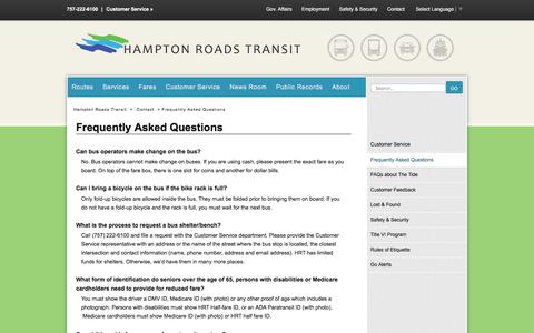 Screenshot of FAQ Page gohrt.com - Frequently Asked Questions - Hampton Roads Transit - Bus, trolley, light rail, and ferry transportation, routes, schedules, rates and contacts. - captured July 14, 2017