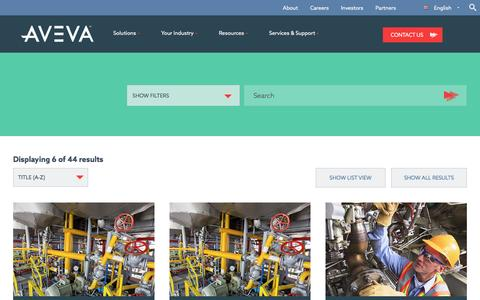 Screenshot of Products Page aveva.com - AVEVA Software Finder: Solutions for Plant, Marine & Power Industries - captured April 10, 2017