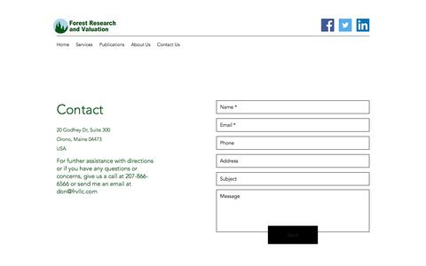 Screenshot of Contact Page frvllc.com - Contact | Forest Research and Valuation - captured Aug. 19, 2018
