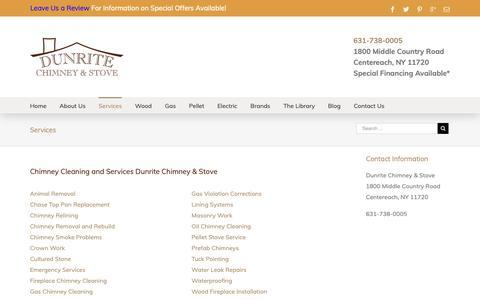 Screenshot of Services Page dunritechimney.com - Services | Dunrite Chimney Centereach, New York - captured Oct. 9, 2018
