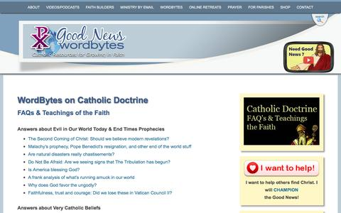Screenshot of FAQ Page gnm.org - Catholic Doctrine | WordBytes by Good News Ministries - captured Oct. 27, 2016