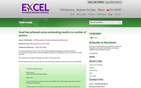 Screenshot of Testimonials Page excelbbs.com.au - Testimonials | Excel Business Broking Services - captured Oct. 3, 2014
