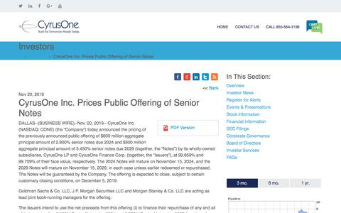 Screenshot of Press Page cyrusone.com - CyrusOne Inc. Prices Public Offering of Senior Notes | CyrusOne - captured Nov. 27, 2019