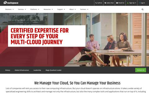 Screenshot of About Page rackspace.com - About Rackspace: The number one Managed Cloud company - captured June 6, 2018