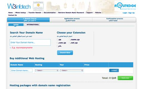 Screenshot of Home Page w3.domains - Domain Name Registration Qatar, .qa and .قطر Web Hosting Qatar - captured Jan. 18, 2018