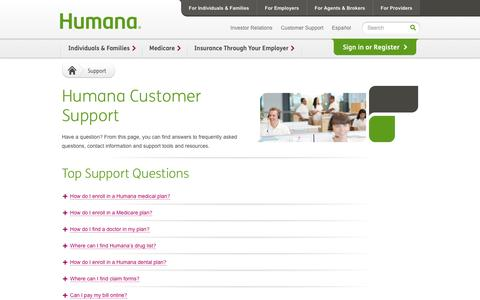 Screenshot of Support Page humana.com - Humana Customer Support Center - captured Oct. 29, 2014