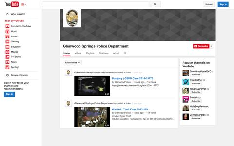 Screenshot of YouTube Page youtube.com - Glenwood Springs Police Department  - YouTube - captured Oct. 22, 2014