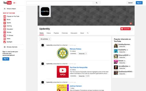 Screenshot of YouTube Page youtube.com - Updentity  - YouTube - captured Oct. 24, 2014