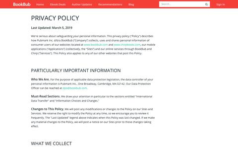 Screenshot of Privacy Page bookbub.com - Privacy Policy - BookBub - captured July 4, 2019