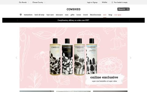 Screenshot of Home Page cowshedonline.com - Honest, Natural and Luxurious Bath & Body Products | Cowshed - captured July 1, 2017