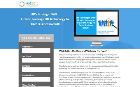 Screenshot of Landing Page hrsoft.com - HR's Strategic Shift:  How to Leverage HR Technology to Drive Business Results - captured Sept. 21, 2018