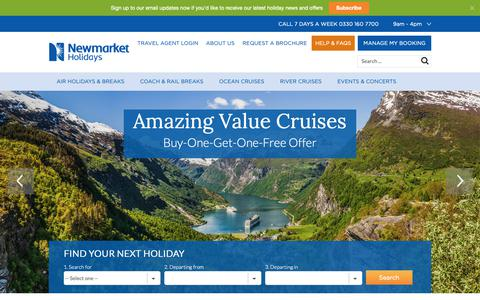 Screenshot of Home Page newmarketholidays.co.uk - Coach Trips, Tours and Air Travel Holidays | Newmarket Holidays - captured Oct. 6, 2018