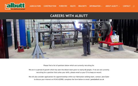 Screenshot of Jobs Page albutt.com - Careers at Albutt | Albutt attachments materials handling - captured Oct. 7, 2017