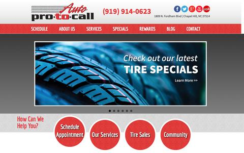 Screenshot of Home Page autoprotocall.com - Auto Pro To Call – Auto Repair Chapel Hill NC   Service, Tires, Brakes - captured Sept. 30, 2014