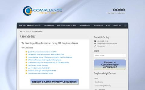 Screenshot of Case Studies Page compliance-insight.com - case studies | - captured Jan. 30, 2016
