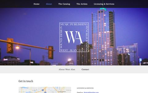 Screenshot of Contact Page westalan.com - Contact — West Alan LLC. - captured Oct. 23, 2017
