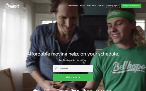 Screenshot of Home Page getbellhops.com - Bellhops: Your Local Movers | Moving Help Company - captured Dec. 2, 2015