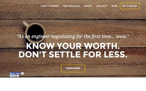 Screenshot of Home Page offerletter.io - OfferLetter.io - Get What You're Worth. - captured Dec. 13, 2014