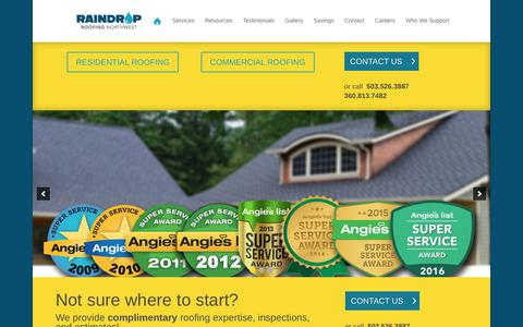 Screenshot of Home Page raindropnw.com - Raindrop Roofing NW | Residential & Commercial Roofing in Portland, OR - captured Nov. 18, 2018