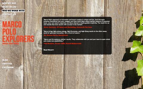 Screenshot of Testimonials Page marcopoloexplorers.com - Who We Work With - Testimonials - captured Sept. 30, 2014