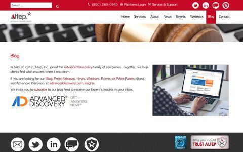 Screenshot of Blog altep.com - Blog - Altep, Inc. - captured Sept. 30, 2018
