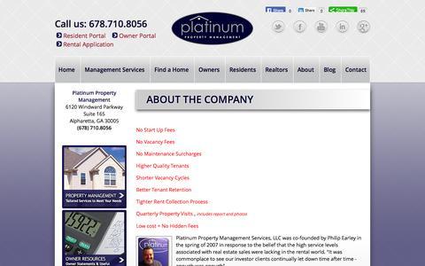 Screenshot of About Page platinumrentalproperty.com - About - Platinum Property Management Atlanta - captured Oct. 2, 2014