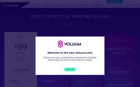 Screenshot of Pricing Page voluum.com - Voluum Tracker Pricing - captured Feb. 20, 2018