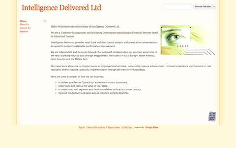 Screenshot of Home Page intelligence-delivered.co.uk - Intelligence Delivered Ltd - captured Sept. 30, 2014
