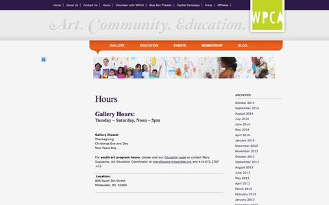 Screenshot of Hours Page wpca-milwaukee.org - Walker's Point Center for the Arts  → Hours - captured Oct. 27, 2014