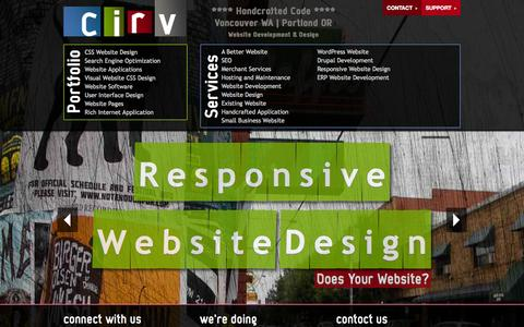 Screenshot of Home Page cirv.com - Cirv - **** Handcrafted Code **** Vancouver WA | Portland OR - captured Oct. 2, 2014