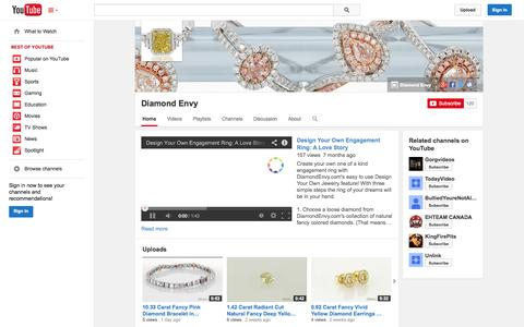 Screenshot of YouTube Page youtube.com - Diamond Envy  - YouTube - captured Oct. 23, 2014