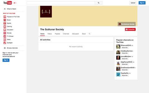 Screenshot of YouTube Page youtube.com - The Sublunar Society  - YouTube - captured Nov. 5, 2014