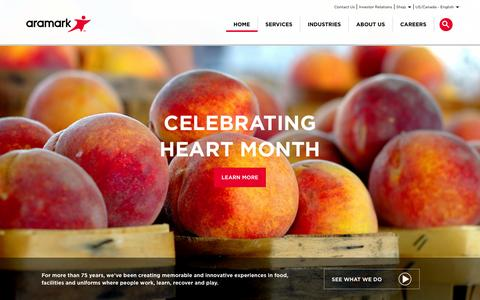 Screenshot of Home Page aramark.com - Aramark | Food, Facilities, and Uniform Services - captured Feb. 1, 2016