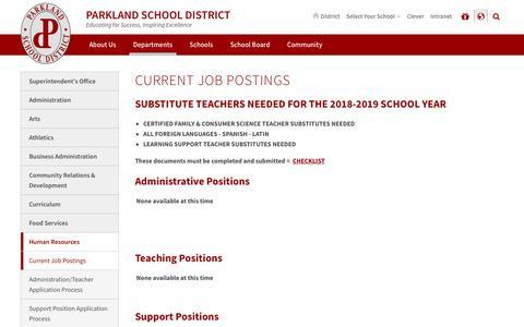 Screenshot of Jobs Page parklandsd.org - Current Job Postings - Parkland School District - captured Sept. 23, 2018
