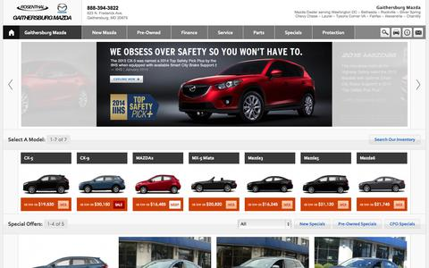 Screenshot of Home Page Contact Page Menu Page Hours Page gaithersburgmazda.com - Rosenthal Mazda of Gaithersburg- Germantown- Rockville- Potomac- Silver Springs- Washington DC- Maryland - captured Oct. 1, 2014