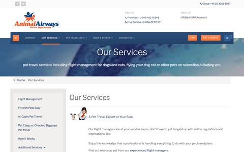 Screenshot of Services Page animalairways.com - Pet Travel and Relocation Services - captured July 30, 2018