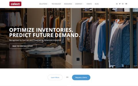 Screenshot of Home Page celect.com - Inventory Optimization for Retail | Predictive Analytics - captured April 13, 2018