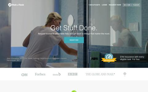 Screenshot of Home Page askfortask.com - Hire House Cleaning, Moving, Handyman Services Across Canada. - captured Sept. 28, 2015