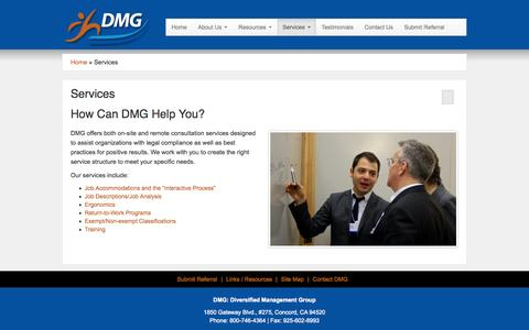 Screenshot of Services Page dmgworks.com - Services - Diversified Management Group - captured Oct. 8, 2014