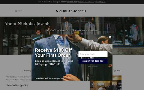 Screenshot of About Page customsuitsyou.com - About Nicholas Joseph Bespoke Clothing & Custom Tailor | Nicholas Joseph - captured Oct. 18, 2018