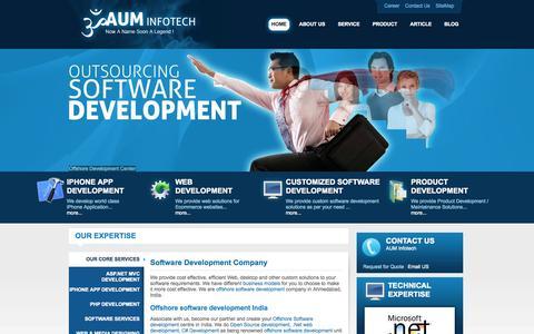 Screenshot of Home Page auminfotech.co.in - Offshore software development company, asp.net development | Aum Infotech - captured Sept. 19, 2014