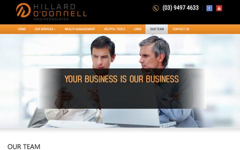 Screenshot of Team Page hillardodonnell.com.au - OUR TEAM - Hillard O' Donnell & Associates - captured Jan. 30, 2016