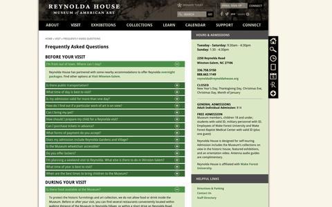 Screenshot of FAQ Page reynoldahouse.org - Frequently Asked Questions | Reynolda House Museum of American Art - captured Oct. 6, 2014