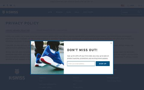 Screenshot of Privacy Page kswiss.com - Privacy Policy - K-Swiss - captured Sept. 23, 2018