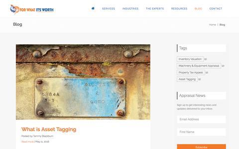 Screenshot of Blog fwiwappraisals.com - Appraisal Blog Machinery Equipment Inventory Appraisal - captured Nov. 25, 2016