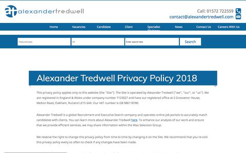 Screenshot of Privacy Page alexandertredwell.com - Cookie and Privacy Policy | Alexander Tredwell - captured July 29, 2018