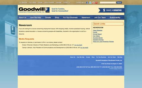 Screenshot of Press Page goodwillswfl.org - Goodwill Southwest Florida: Media Contacts and requests - captured Sept. 23, 2014