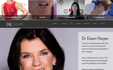 Screenshot of Home Page drdawn.com - Dr Dawn | Leading Award Winning TV and Media Medic - captured Sept. 24, 2015